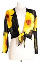 long sleeve shrug- yellow big flower - polyester/spandex