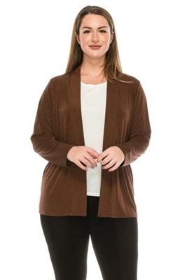 Long sleeve jacket - brown - polyester/spandex