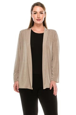 Long sleeve jacket - taupe - polyester/spandex