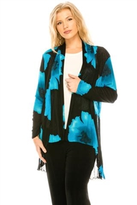 Vegas jacket - blue big flower - polyester/spandex