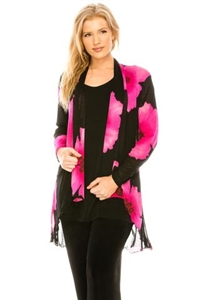 Vegas jacket - pink big flower - polyester/spandex