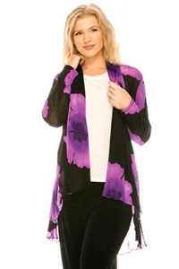 Vegas jacket - purple big flower - polyester/spandex