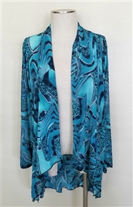 Vegas jacket - aqua animal - polyester/spandex