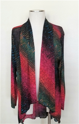 Vegas jacket - red/green tie dye - polyester/spandex