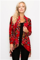 Vegas jacket - red velvet burnout - polyester/spandex