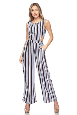 Jumpsuit with cut-out waist - blue stripes