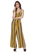 Jumpsuit - mustard/black/white stripes