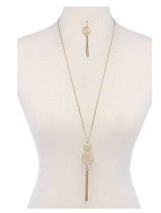 Necklace and earrings - gold double circle tassel pendant