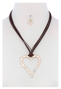 Necklace & earrings - gold hammered heart