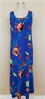Long tank dress - royal blue with fish - polyester/spandex
