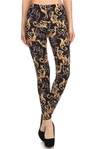 Leggings - black/gold paisley - polyester/spandex