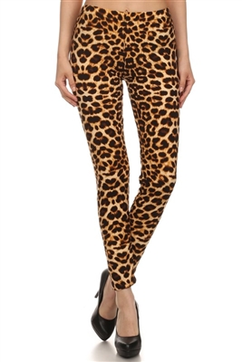 Leggings - brown leopard - polyester/spandex