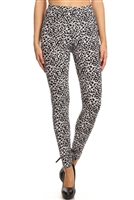 Leggings - black/white animal - polyester/spandex