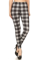 Leggings -  black/white plaid