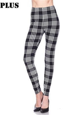 Leggings - plus size -  black/white plaid