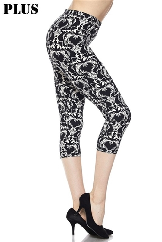 4bcafeb0a098ea Capri leggings - plus size - black/white baroque