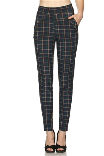Leggings with pockets - green/blue plaid - polyester/spandex