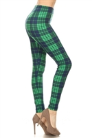 Leggings -  green/black plaid