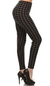 Leggings - black/grey houndstooth - polyester/spandex