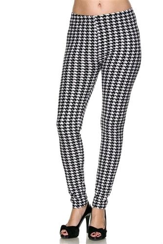 7f70e94010cfc Leggings - black white houndstooth - polyester spandex