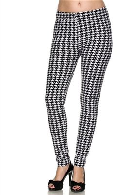 Leggings - black/white houndstooth - polyester/spandex