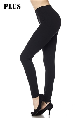 Plus size leggings - black - brushed
