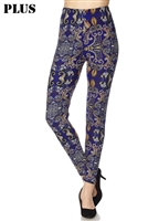Leggings - plus size -  royal multi print