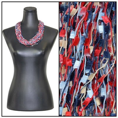 Confetti Necklace with Magnetic Clasp - Navy/Red/Beige