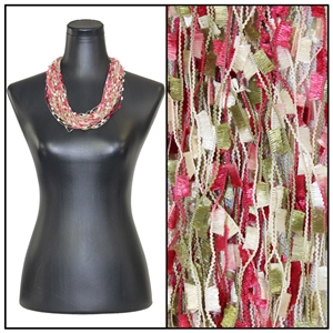 Confetti Necklace with Magnetic Clasp - Raspberry/Sage/Beige