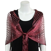 Metallic Shawl - burgundy - polyester