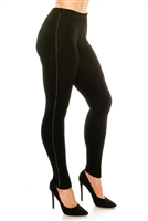 Slim pants with rhinestones - black - acetate/spandex
