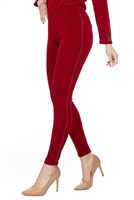 Slim pants with rhinestones - red - acetate/spandex