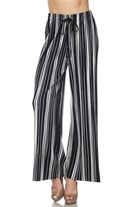 Pleated palazzo pants - black/white stripe