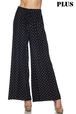 Plus size Pleated palazzo pants - black/white stripe