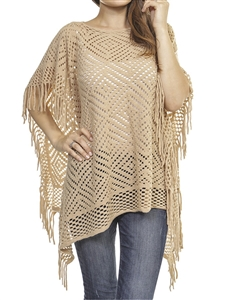 Fringed poncho - pierced diamond design - beige