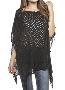 Fringed poncho - pierced diamond design - black