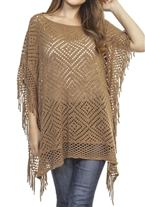 Fringed poncho - pierced diamond design - pale brown