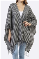 Fringed poncho - houndstooth design