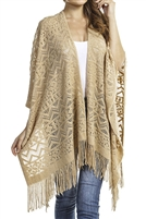 Fringed ruana - patterned - beige
