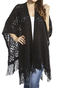 Fringed ruana - patterned - black