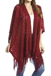 Fringed ruana - patterned - burgundy