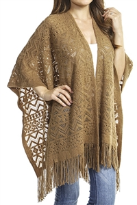 Fringed ruana - patterned - camel