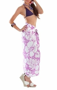 Sarong - Light Purple/White Hibiscus - Rayon