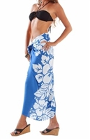 Sarong - Royal Blue/White Hibiscus - Rayon