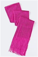Long glitter scarf with fringe - fuschia