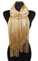 Long glitter scarf with fringe - gold