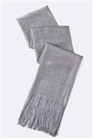 Long glitter scarf with fringe - grey