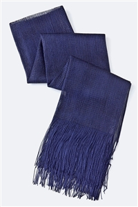 Long glitter scarf with fringe - navy