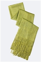 Long glitter scarf with fringe - olive