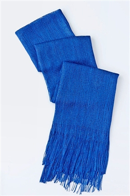 Long glitter scarf with fringe - royal blue
